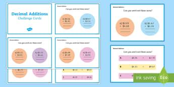 Decimals Additions Maths Challenge Cards - year 5, year 6, adding decimals, addition, decimals and fractions,Australia