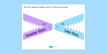Greater Than Less Than Flippable Visual Aid Shark Theme - visual aid, aids, great than, less than, flippable aid, shark theme, shark, shark flippable aid, two sided aid, great than less than double sided symbol, sign for greater than, sign for less t