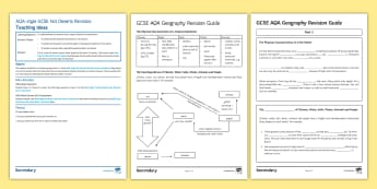 AQA-Style Hot Desert Revision Sheet Activity Pack - AQA, mark scheme, exam questions, Geography, hot deserts, ecosystems, adaptations. soil, climate, wa