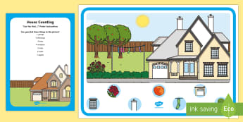 House Counting Can You Find...? Poster and Prompt Card Pack - i spy, hunt, discover, count, house, home, chimneys, windows, garden, garage, parts of a house, hous