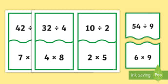 Multiplication and Division Equivalent Number Sentences  Matching Cards - ACMNA121, Equivalent Number Sentences, Multiplication, Division, Matching Cards, Number Sentences, M