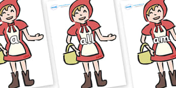 Foundation Stage 2 Keywords on Little Red Riding Hood - FS2, CLL, keywords, Communication language and literacy,  Display, Key words, high frequency words, foundation stage literacy, DfES Letters and Sounds, Letters and Sounds, spelling
