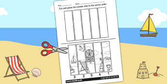 Seaside Themed Number Sequencing Puzzle - numeracy, sea side