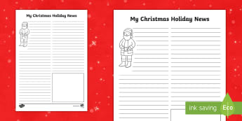 Christmas Holiday News Activity Sheet - santa, KS1, writing, literacy, morning, task, activities, news report, holidays, holiday, xmas, chri