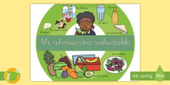 Póster: Mi almuerzo saludable - comida, sano, dieta, salud, frutos secos, frutas, verduras, lácteos, queso, agua, zumo, primaria, n