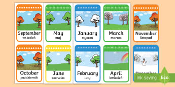 Months of the Year Flashcards English/Polish - Months of the Year Flashcards - months of the year, months, year, flashcards, flash cards,months of