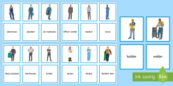 Jobs Matching Cards - sen, professions, emergency services, builders, uniforms, vocabulary, pairs