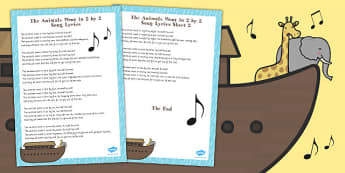 The Animals Went in 2 by 2 Noahs Ark Song Lyric Sheet - noah, ark