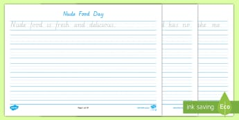 Nude Food Day Handwriting Practice Year 2 Activity Sheet - Fine motor, letter formation, Healthy eating, literacy, personal health, worksheet