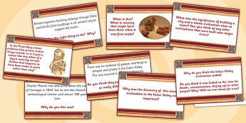 Indus Valley Civilisation Challenge Cards - indus valley, history