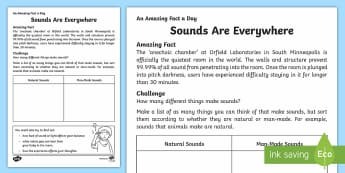 Sounds Are Everywhere Activity Sheet - Amazing Fact Of The Day, worksheet, activity sheets, powerpoint, starter, morning activity, December
