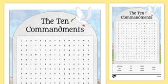 Ten Commandments Word Search Activity Sheet - irish, gaeilge, Ten, Commandments, Moses, wordsearch, activity sheet, worksheet