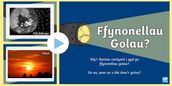 Pŵerbwynt Procio Trafodaeth am Ffynonellau Golau - golau, ffynnhonell, ffynonellau, gwyddoniaeth,Welsh