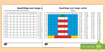 Feuille d'activités : Quadrillage avec image cachée - Phare - Mathématiques, cycle 2, KS1, Maths, grille, quadrillage, coordonnées, coloriage, colorier, grid, c