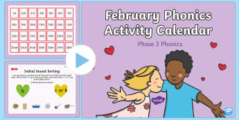 Phase 3 February Phonics Activity Calendar PowerPoint - phonics, calendar, monthly, reading, spelling, sorting, tricky words, letters and sounds, activity,