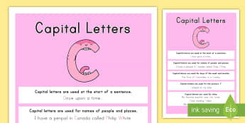 Capital Letter Display Poster - grammar, poster, capitalization, literacy, writing, checking, bulletin board