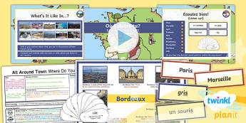 French: All Around Town: Where Do You Live? Year 4 Lesson Pack 1