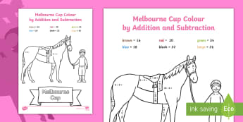 Melbourne Cup Colour by Addition and Subtraction Activity Sheet - horse racing, worksheet, Maths, mathematics, place value, number and algebra, colouring ,Australia