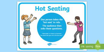 Hot Seating Display Poster - CfE Drama, Hot seating, EXA 1-12a, EXA 1-14a,Scottish