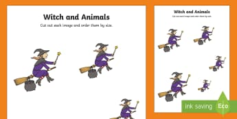 Witch and Animals Size Ordering - room on the broom, size ordering, size, ordering, size and shape, shapes, size order, order worksheet, orders