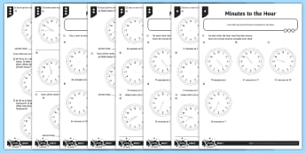 Minutes to the Hour Differentiated Activity Sheets - measurement, time, analogue clocks, minute intervals to the hour, telling the time, tell and write t