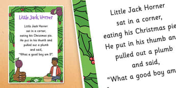 Little Jack Horner Nursery Rhyme Poster - rhymes, display, songs
