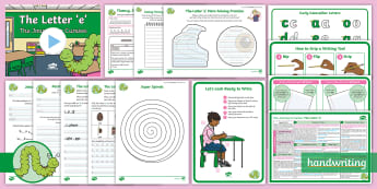 The Journey to Cursive: The Letter 'e' (Curly Caterpillar Family Help Card 4) KS1 Activity Pack - Nelson handwriting, penpals, fluent, joined, legible, handwriting