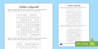 Zahlen labyrinth: Größer und Kleiner als Arbeitsblätter - Mathematik, als,gleich wie, <, >, mathematische symbole, German