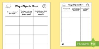 Ways Objects Move Activity Sheet - Science, Movement, Primary, Grade 1, Grade 2, Grade 3