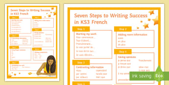 Seven Steps to Writing Success in GCSE French A4 Display Poster - improve, structure, quality, written work, successful,French