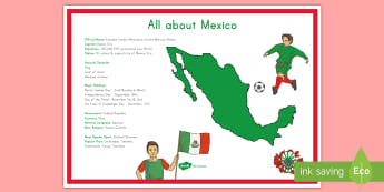 All About Mexico Large Display Poster - Mexico, Mexico Facts, Geography, Social Studies, Holidays, All About Mexico, Mexican, KS2, Grades 3-