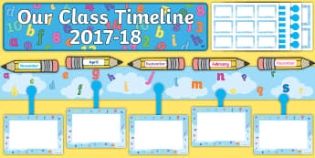 Our Class Timeline 2017 to 18 Letters and Numbers Themed Display Timeline - CfE Class Display, back to school display, new class display, letters and numbers display, Scottish
