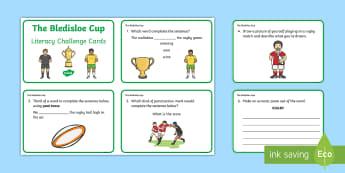 F-2 Bledisloe Cup Literacy Challenge Cards - Bledisloe cup, rugby union, sport, challenge, cards, literacy, australia, wallabies, new zealand, al