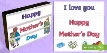 Mother's Day Light Box Inserts - Australia, EYLF, Topics and events, celebrations, mothers day, light box inserts, F - 2, signs and l