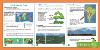 KS2 South America Facts Activity Sheet  - Introduction to South America Lesson Teaching Pack - geography, teeach, fewer, georgraphy