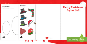 Design Your Own Snowman Christmas Cards English/French - Design Your Own Snowman Christmas Cards - Christmas, xmas, Happy Christmas, tree, snowman, cards, ca
