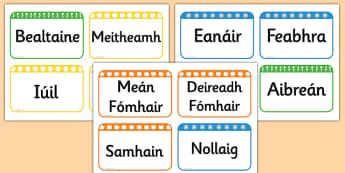 Months of the Year Flashcards Gaeilge - gaeilge, months, year, flash cards, flash, cards
