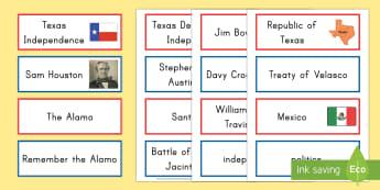 Texas Independence Word Cards - United States History, State history, Texas, Texas Independence, Alamo, San Jacinto, Houston, Santa