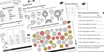 Survey and Graph Worksheets Pack - surveys and graphs, surveys worksheets, ks2 numeracy worksheets, surveys activities, creating surveys, ks2 numeracy