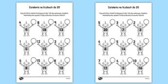 Zadania matematyczne z robotami liczby 1-20 po polsku - liczenie