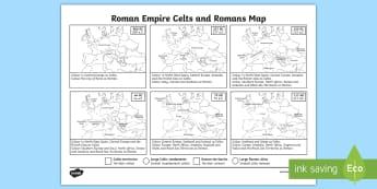 Roman Empire Celts and Romans Map Worksheet / Activity Sheet - romans, celts, maps, worksheet, KS2,colouring activity, roman territory