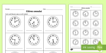 Citirea ceasului la ora fixă și la și jumătate - Fișă de lucru - timpul, unități de măsură, ceasul, ceas, citirea cesului, ora fixă, si jumătate, matematică,