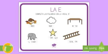 Ficha de lecto: Las vocales - La E - Vocales, Letras, Sonidos, Lectoescritura, Pre-Escritura, Lectura, Pre-Lectura