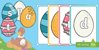 Phase 2 Phonemes on Patterned Eggs Display Posters - EYFS, Early Years, Twinkl Originals, Twinkl Fiction, Brenda, Duck, Egg, Nest, Spring, Special, Uniqu