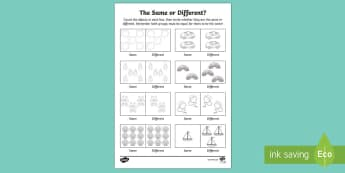 Same or Different Toy Themed Activity Sheet - UAE EYFS Maths General, maths, same, different, counting, equal, more, less, comparing, matching qua