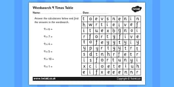 Multiplication 9 Times Tables Wordsearch Worksheet - multiplication, 9 times tables, wordsearch, worksheet, times tables, times, tables, maths, numeracy