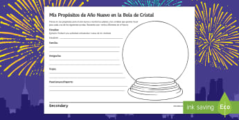 New Year's Resolutions Crystal Ball Writing Activity Sheet Spanish - future, tense, creative, grammar, celebrations, Christmas