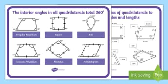 Finding Missing Angles and Lengths of Quadrilaterals Display Poster - properties of shape, missing angles, Quadrilaterals, Rectangle, rhombus, paralellogram