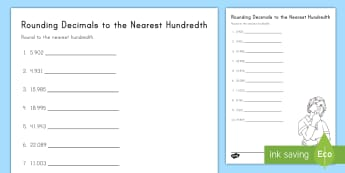 Rounding Decimals to the Nearest Hundredth Activity Sheet - Rounding, decimals, place value, 5th grade, tenths, hundredths, worksheet