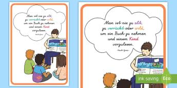 Man ist nie zu alt Motivierendes Poster für die Klassenraumgestaltung - Motivation, Inspiration, lesen, vorlesen, Buch, Bücher, Deko, Zitat,,German